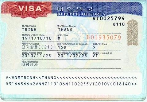 VISA công tác HAN QUOC
